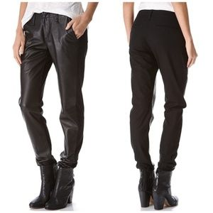 NWT Rag & Bone Hyde Portobello Leather-Side Pants